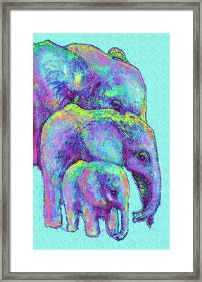 Three Blue Elephants Framed Print