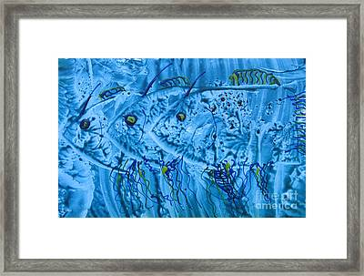 Framed Print featuring the mixed media Three Blue Fish by Patricia Januszkiewicz