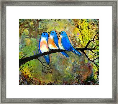 Three Little Birds - Bluebirds Framed Print by Blenda Studio