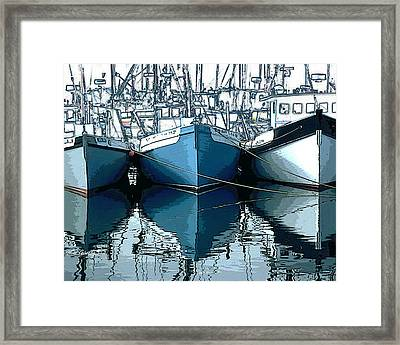 Three Boats In Blue Framed Print