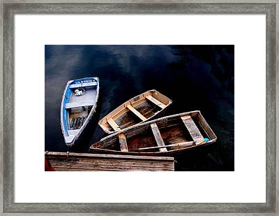 Framed Print featuring the photograph Three Boats In Rockport Mass by Jacqueline M Lewis