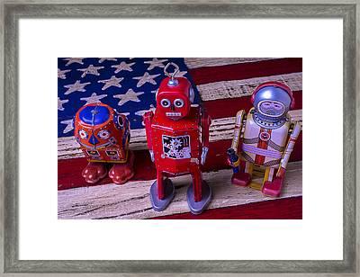 Three Bots Framed Print by Garry Gay
