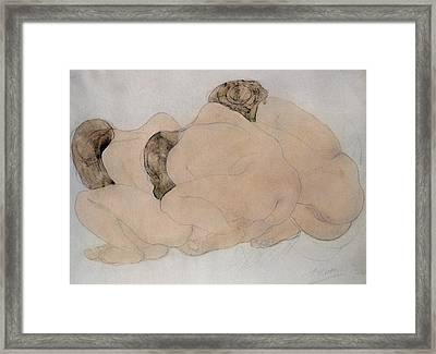 Three Boulders Pencil & Wc On Paper Framed Print by Auguste Rodin