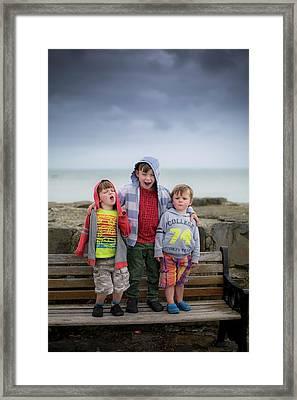 Three Boys On Bench Framed Print by Samuel Ashfield