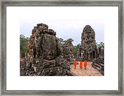 Stone Buddha in the Ruins of a Temple Picture Buddhist Monk Art Framed Print