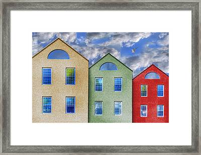 Three Buildings And A Bird Framed Print
