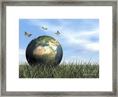 Three Butterflies Flying Around Earth Framed Print