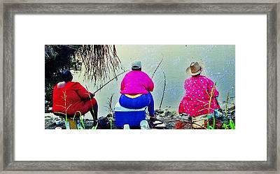 Three Cane Poling Women With Purses Framed Print by Patricia Greer