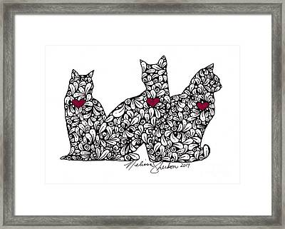 Framed Print featuring the drawing Three Cats by Melissa Sherbon