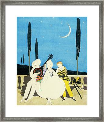 Three Characters Wears Pierrot Framed Print