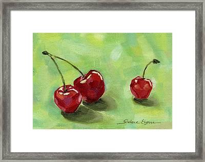Three Cherries Framed Print by Shalece Elynne