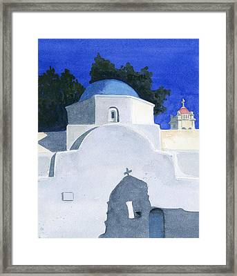 Three Churches On Mykonos Framed Print by Marsha Elliott