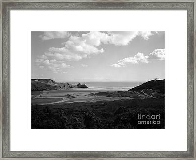 Three Cliffs Bay Framed Print by Paul Cowan