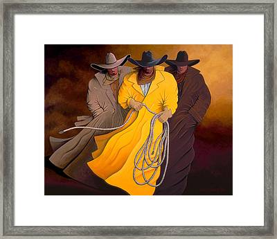 Framed Print featuring the painting Three Cowboys by Lance Headlee