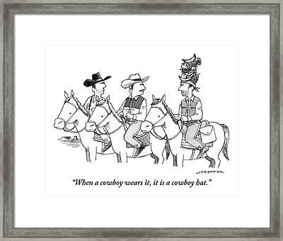 Three Cowboys On Horses Framed Print by Joe Dator