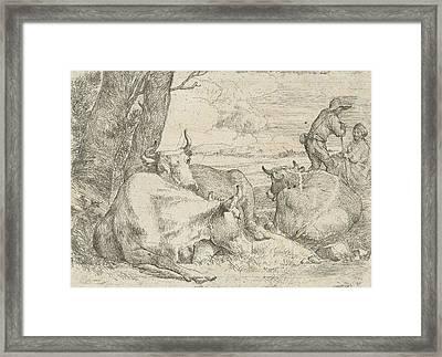 Three Cows And Two Shepherds, Jan Van Ossenbeeck Framed Print by Artokoloro