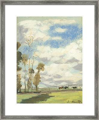 Three Cows In A Pasture Framed Print by Claude Monet