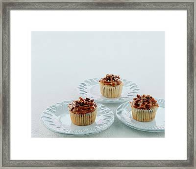 Three Cranberry Cupcakes Framed Print