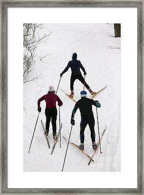 Three Cross Country Skiers. Framed Print