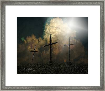 Three Crosses And A Dove Framed Print by Karen Slagle