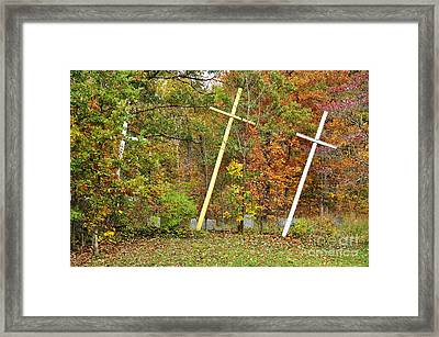 Three Crosses And Cemetery Framed Print by Thomas R Fletcher
