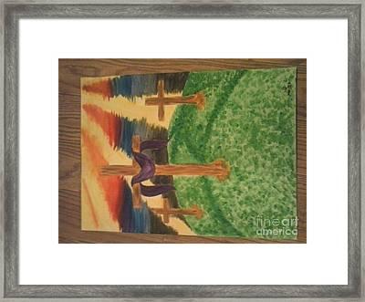 Three Crosses  Framed Print by Kae Mangan
