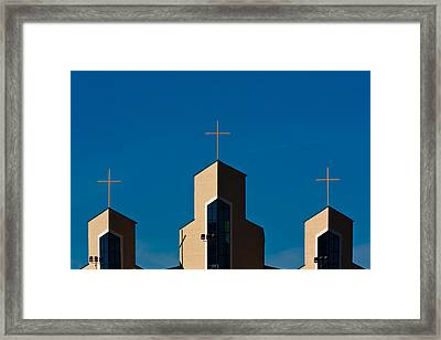 Framed Print featuring the photograph Three Crosses Of Livingway Church  by Ed Gleichman