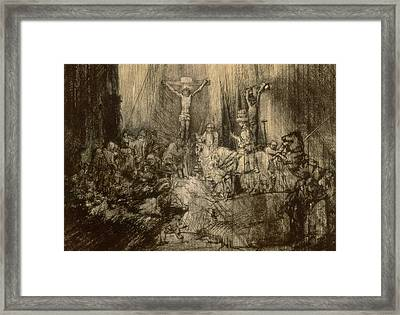 Three Crucifixes Framed Print by Rembrandt Harmenszoon van Rijn