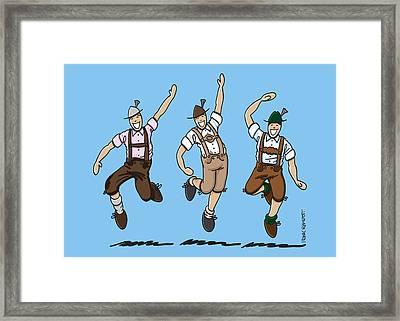 Three Dancing Oktoberfest Lederhosen Men Framed Print by Frank Ramspott
