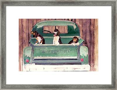 Three Dogs And A Truck Framed Print