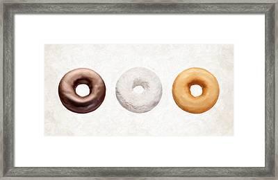 Three Donuts  Framed Print