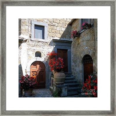 Three Doors In Bagnoregio Framed Print by Barbie Corbett-Newmin