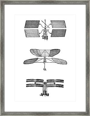 Three Early Helicopter Designs Framed Print by Science Photo Library