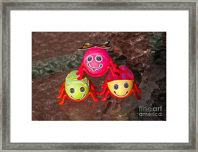 Three Easter Egg Bugs Framed Print by Sue Smith