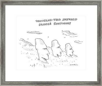 Three Easter Island Heads Are Show Framed Print
