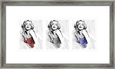 Three Faces Of Marilyn Framed Print