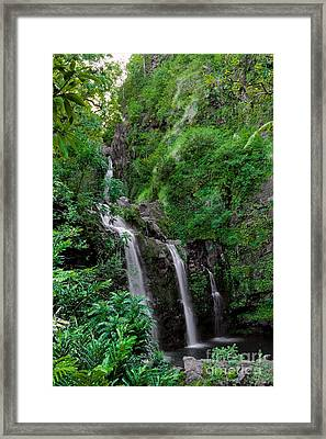 Three Falls On The Road To Hana Framed Print