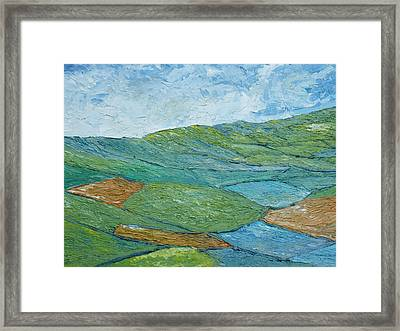Three Fields Of Barley Framed Print by Conor Murphy