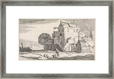 Three Figures Conversing At An Inn, Jan Van De Velde II Framed Print by Jan Van De Velde (ii)