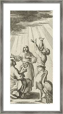 Three Figures Look Up And Are Illuminated By A Beam Framed Print