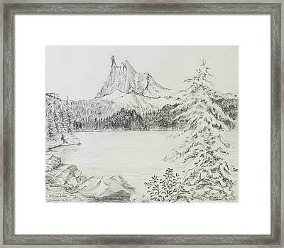Three-fingered Jack Above Marion Lake Framed Print by Jean Moule