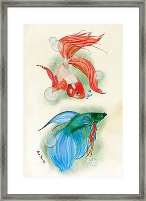 Three Fish Framed Print by Anne Beverley-Stamps