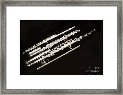 Three Flute Music Instruments Photograph In Sepia  3440.01 Framed Print by M K  Miller