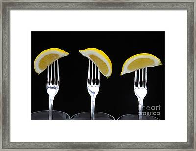 Three Forks With Three Lemon Wedges On Black Framed Print