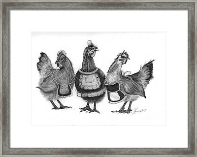Three French Hens Framed Print by J Ferwerda