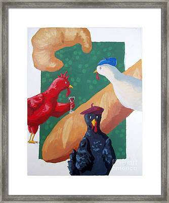 Three French Hens Framed Print by Whitney Morton