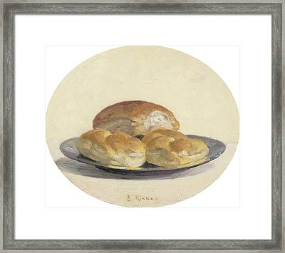 Three French  Rolls On An Iron Plate Framed Print by Ben Rikken