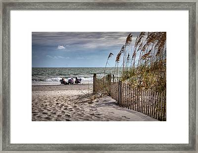 Three Friends Meet At Shell Island Framed Print by Phil Mancuso