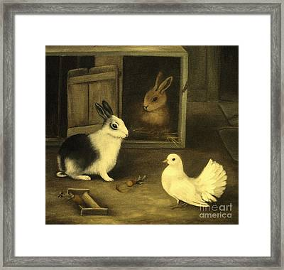 Three Friends Sharing A Moment Framed Print by Hazel Holland