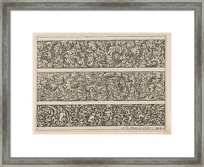 Three Friezes With Leaf Tendrils, Anonymous Framed Print by Anthonie De Winter